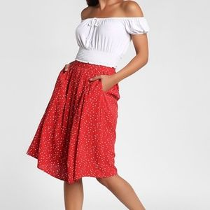 Forever 21 Red Midi Skirt w White Polka Dots